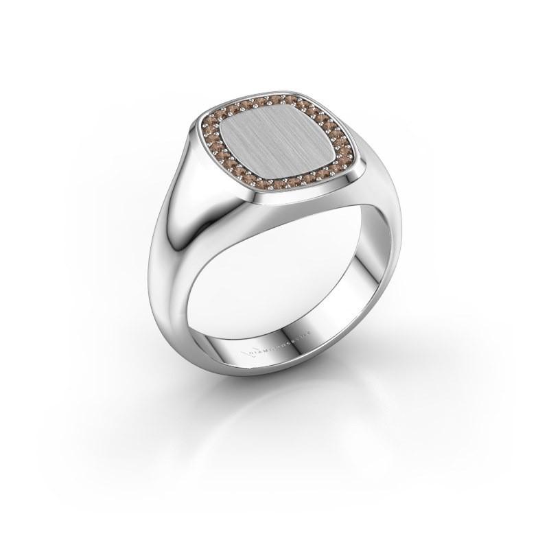 Men's ring Floris Cushion 2 950 platinum brown diamond 0.21 crt
