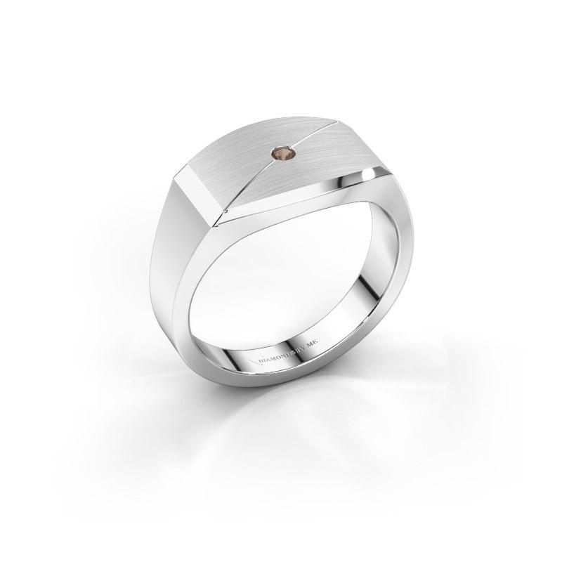 Heren ring Joe 5 925 zilver rookkwarts 2 mm
