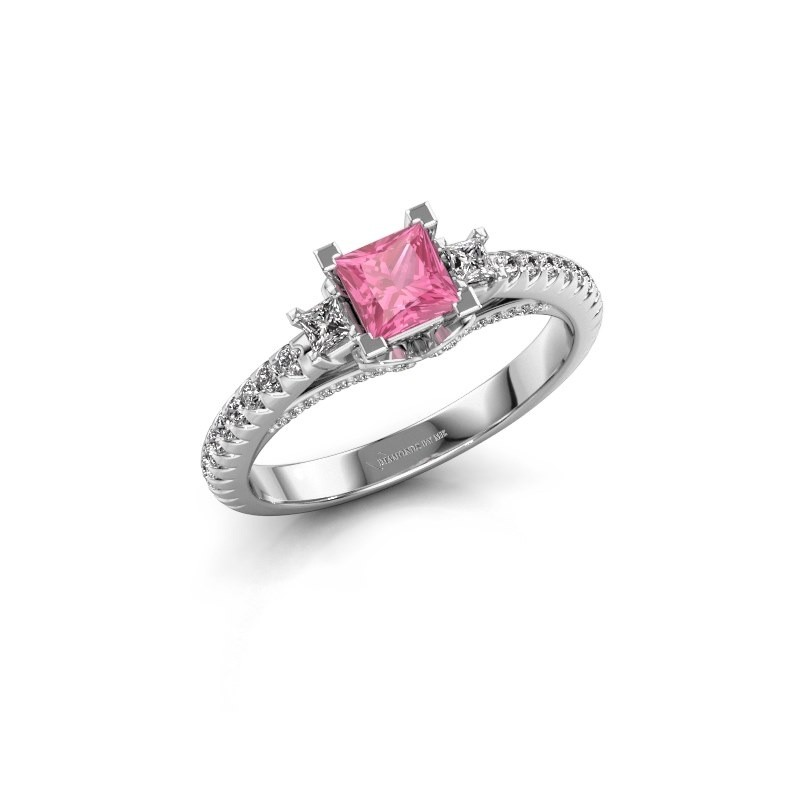 Verlovingsring Valentina 585 witgoud roze saffier 4.25 mm