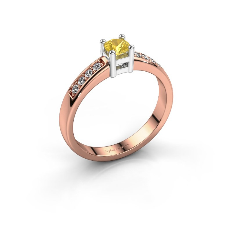 Engagement ring Eline 2 585 rose gold yellow sapphire 3.7 mm