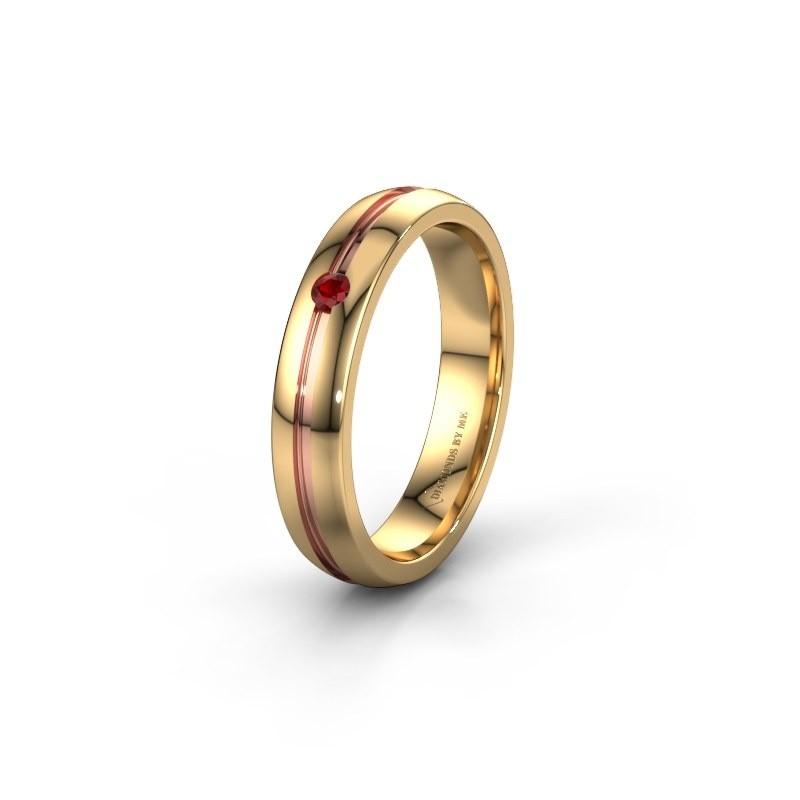 Trouwring WH0424L24A 585 goud robijn ±4x1.7 mm