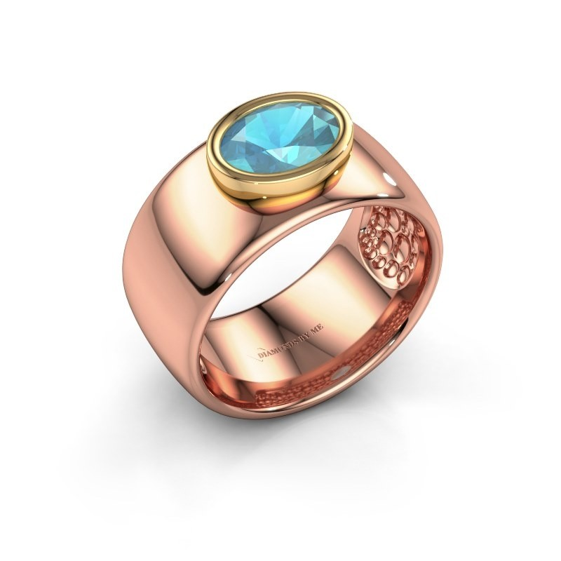 Bague Anouschka 585 or rose topaze bleue 8x6 mm