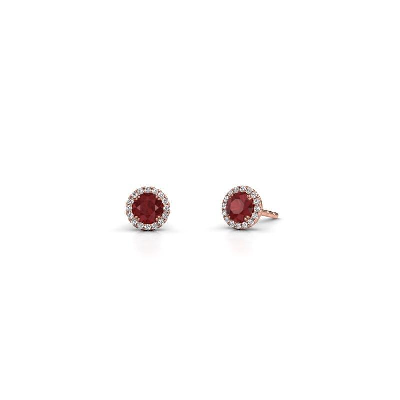 Earrings Seline rnd 375 rose gold ruby 4 mm