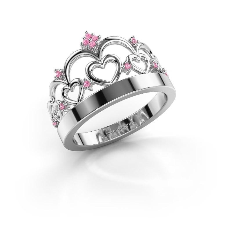Ring Kroon 1 585 witgoud roze saffier 1 mm