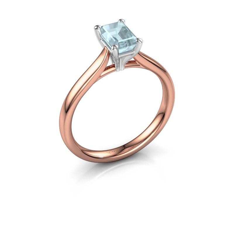 Verlovingsring Mignon eme 1 585 rosé goud aquamarijn 6.5x4.5 mm