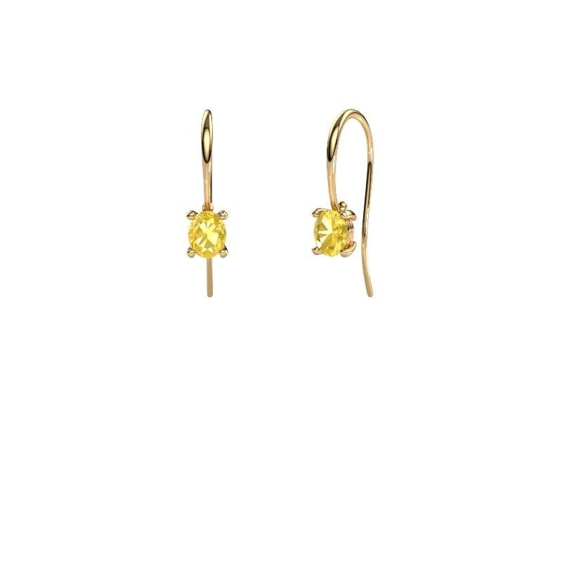 Ohrhänger Cleo 585 Gold Gelb Saphir 6x4 mm
