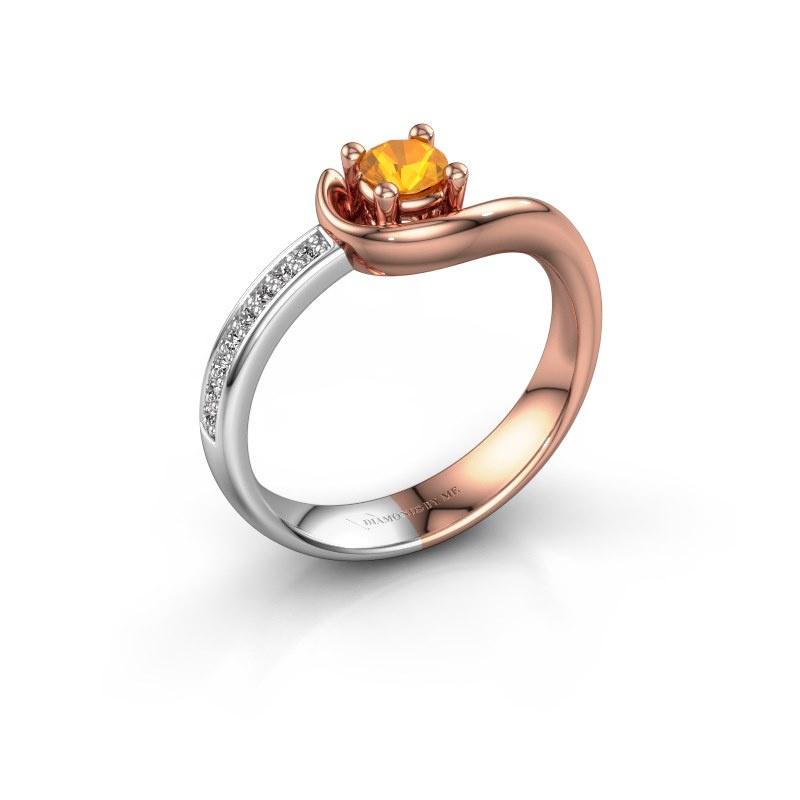 Ring Ceylin 585 rosé goud citrien 4 mm