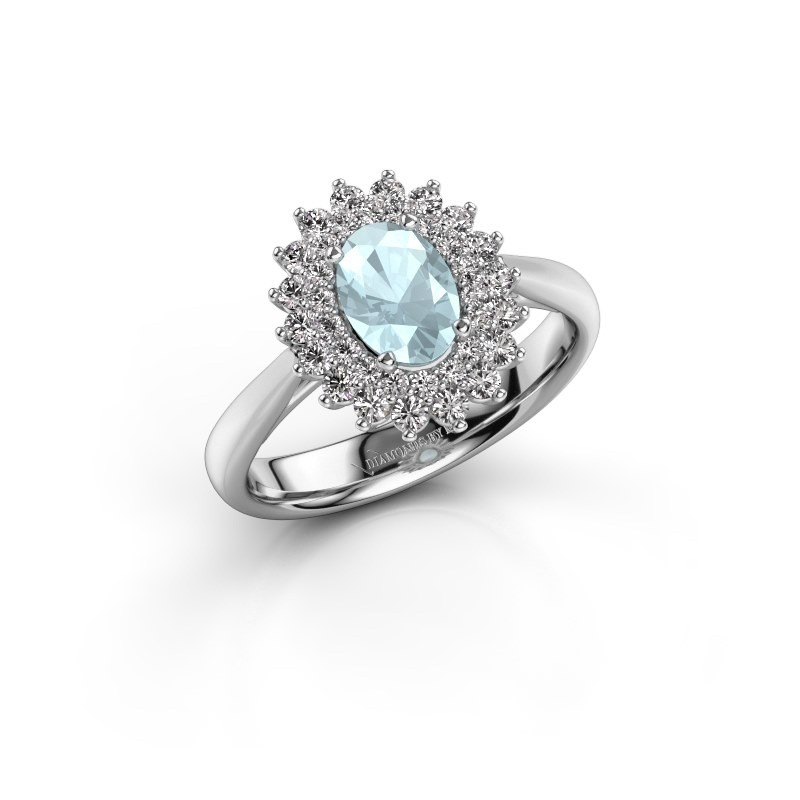Engagement ring Alina 1 925 silver aquamarine 7x5 mm