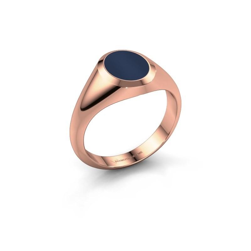 Pinkring Herman 1 375 rosé goud donker blauw lagensteen 10x8 mm
