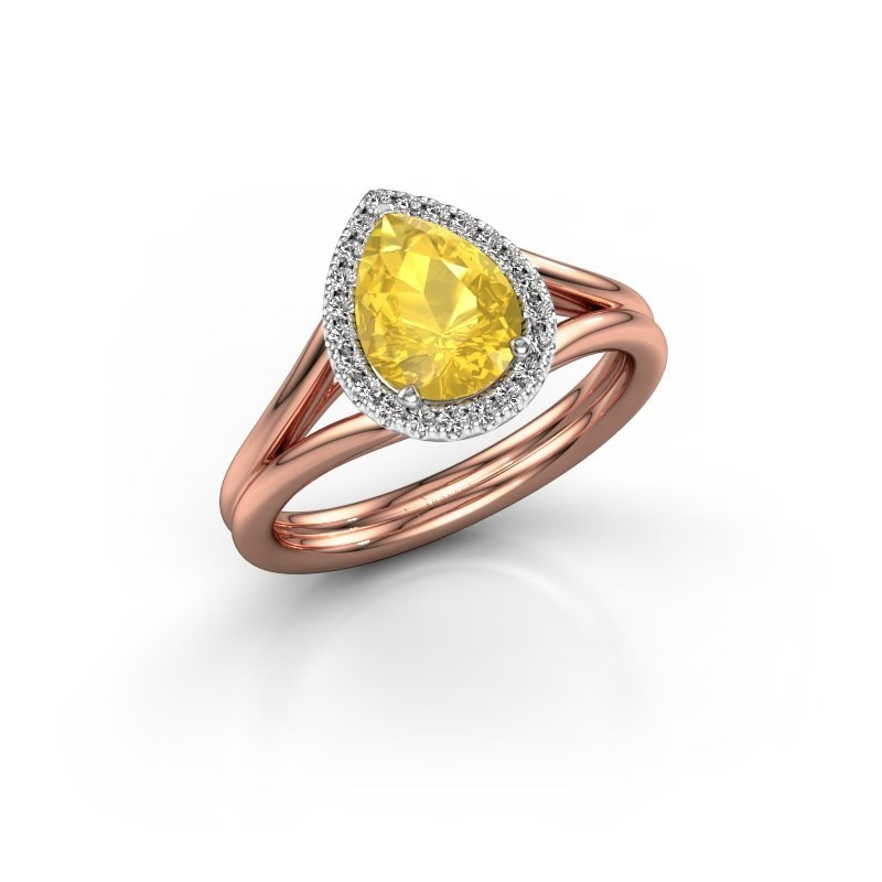 Verlovingsring Elenore 585 rosé goud gele saffier 8x6 mm