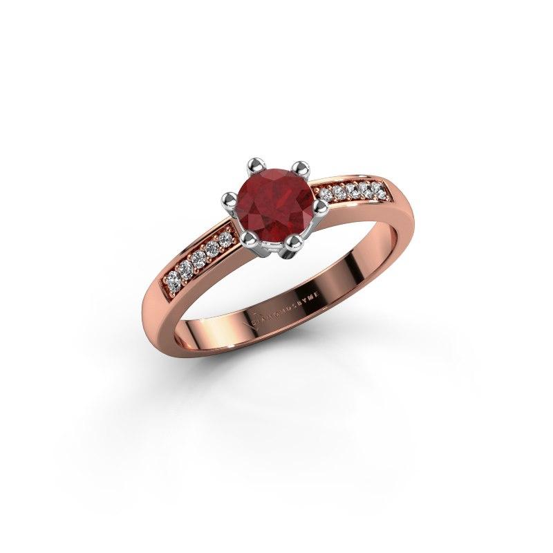 Verlovingsring Luna 2 585 rosé goud robijn 5 mm