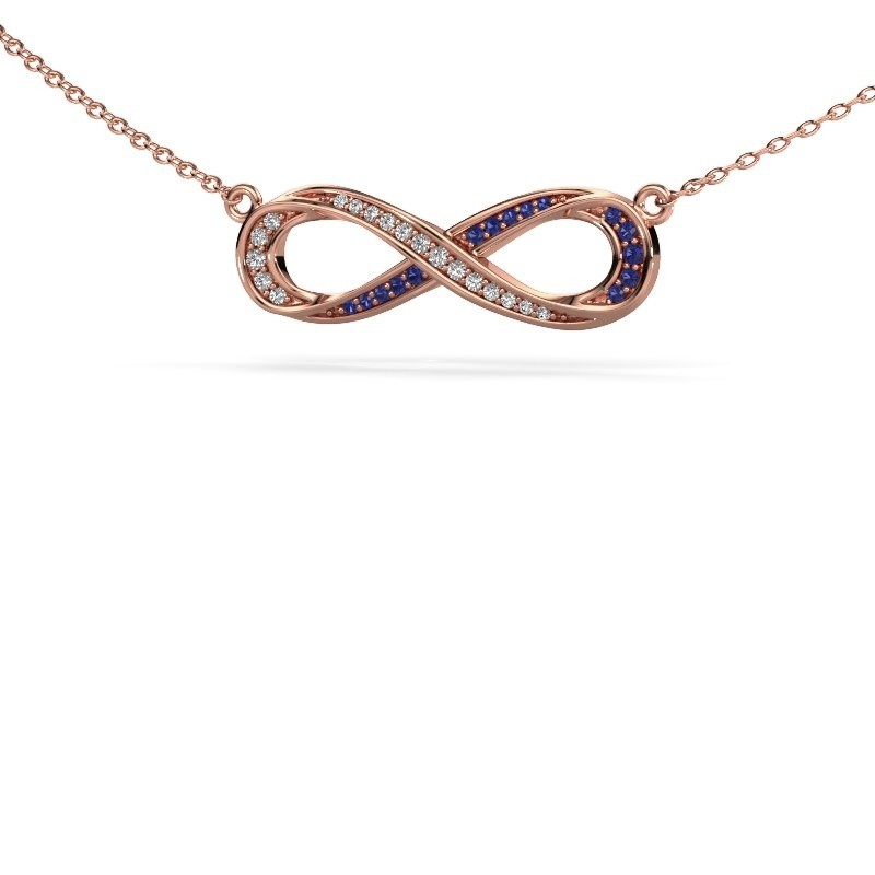 Collier Infinity 2 375 or rose saphir 0.8 mm