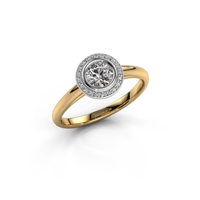 Promise ring Noud 1 RND 585 goud diamant 0.45 crt