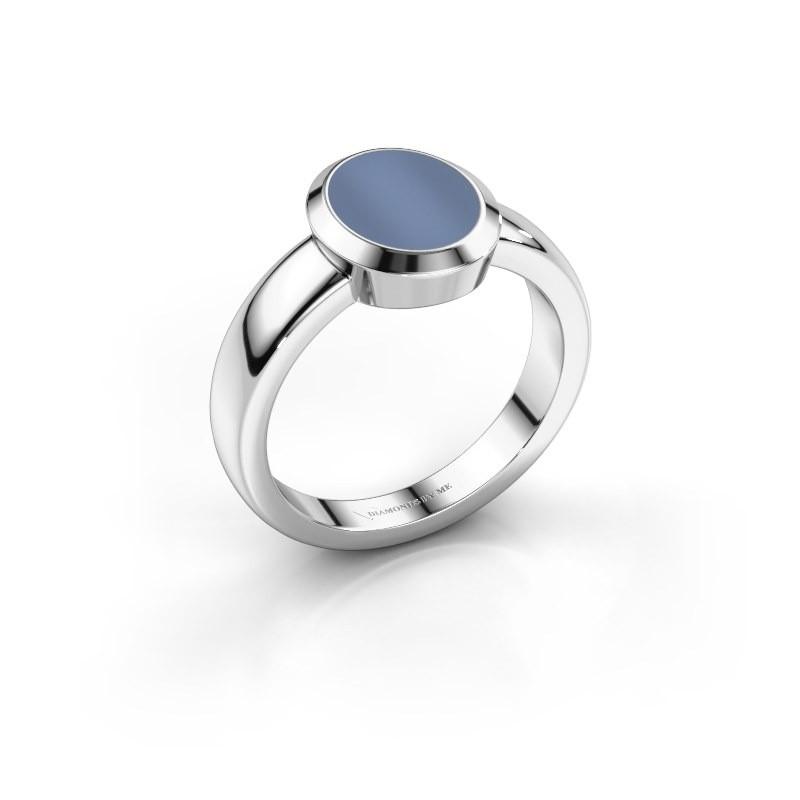 Pinkring Oscar 1 950 platina licht blauwe lagensteen 10x8 mm