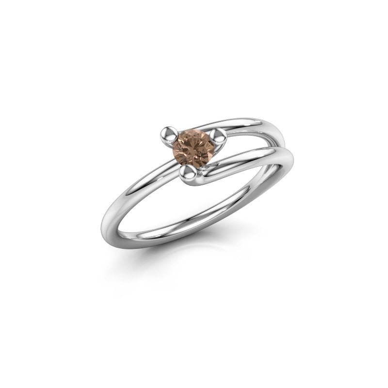 Ring Roosmarijn 585 Weißgold Braun Diamant 0.20 crt