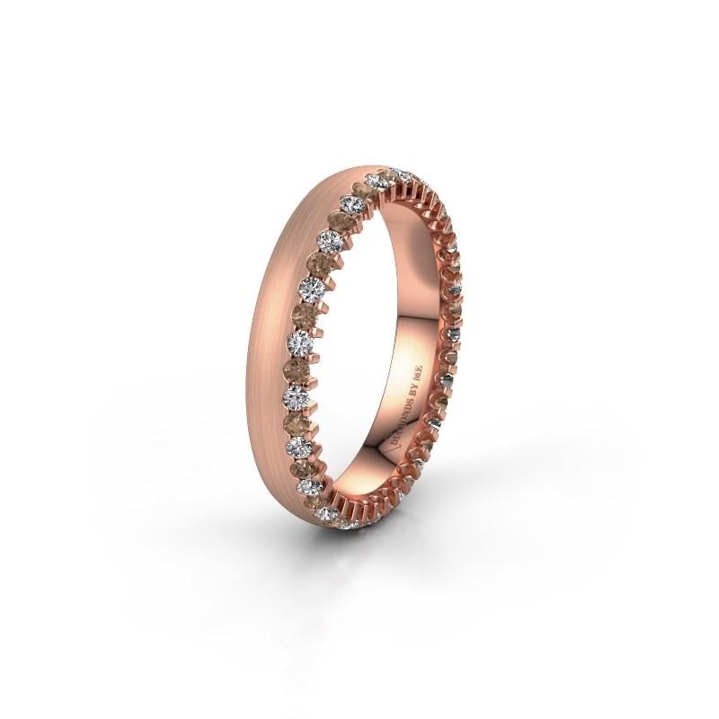Wedding ring WH2138L24B 375 rose gold brown diamond ±4x2 mm