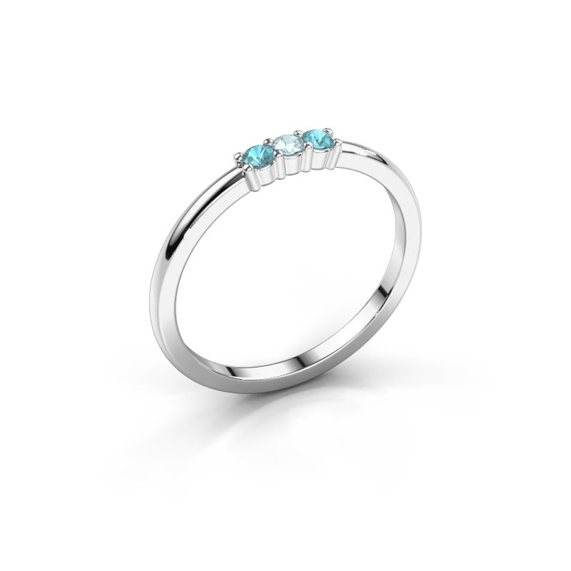 Engagement ring Yasmin 3 585 white gold aquamarine 2 mm