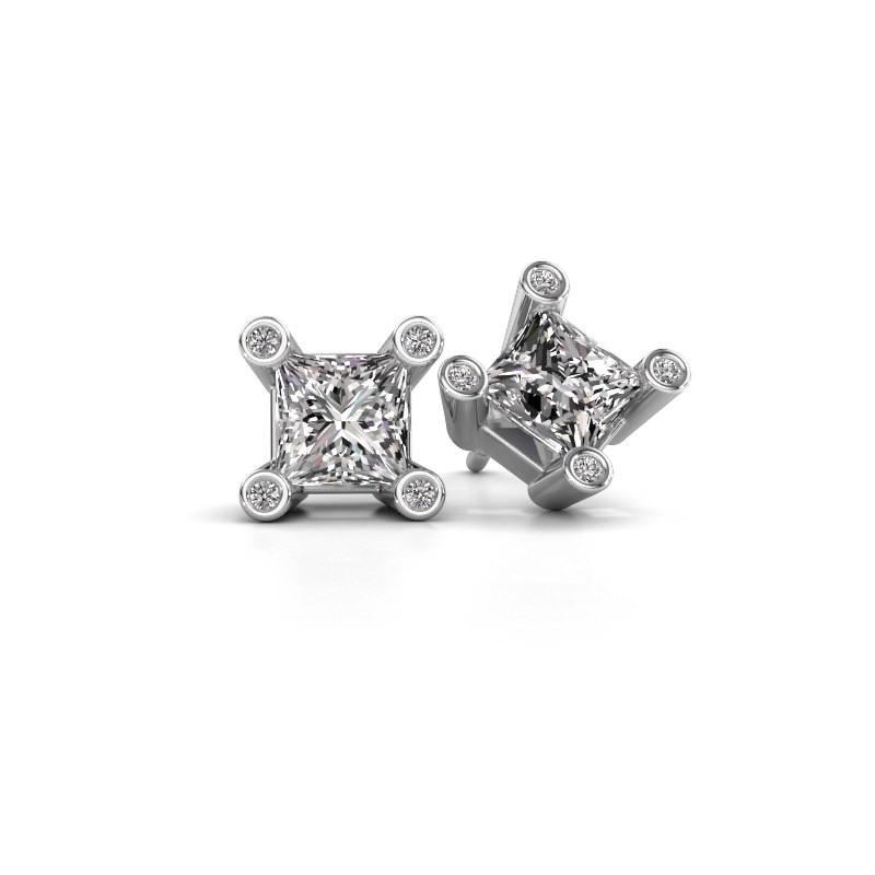 Oorstekers Cornelia Square 950 platina lab-grown diamant 1.30 crt