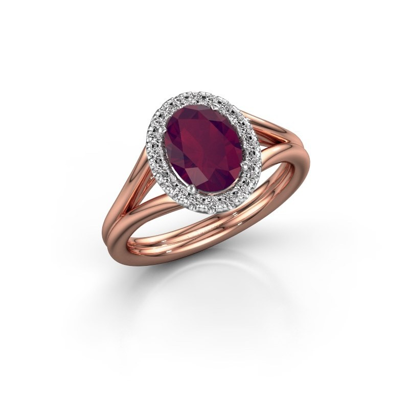Engagement ring Rachele 1 585 rose gold rhodolite 8x6 mm