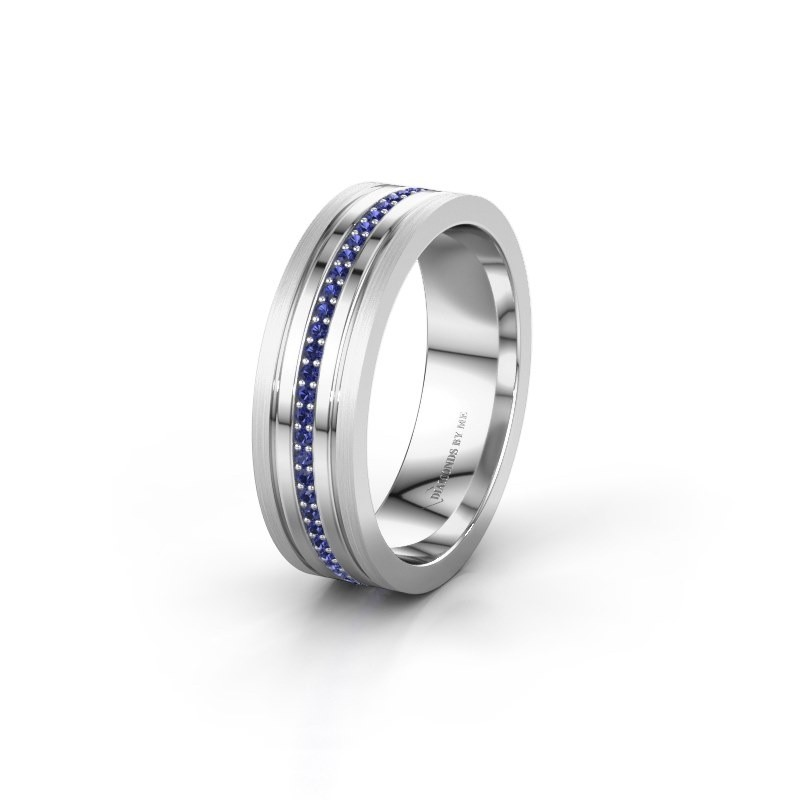 Wedding ring WH0404L16A 585 white gold sapphire ±6x1.7 mm
