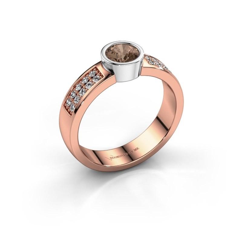 Verlovingsring Ise 3 585 rosé goud bruine diamant 0.55 crt
