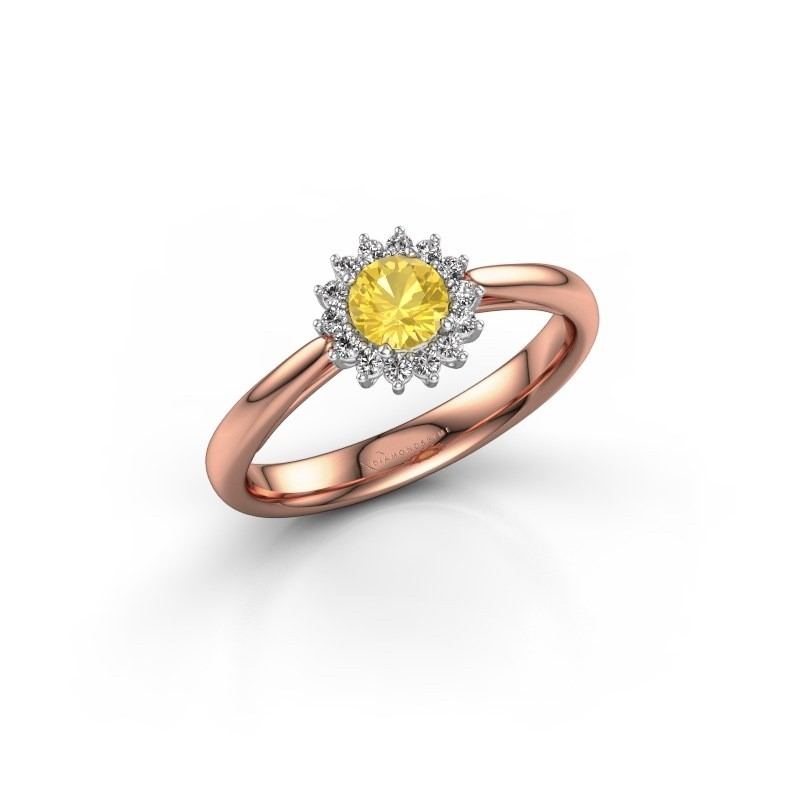 Engagement ring Tilly RND 1 585 rose gold yellow sapphire 4.2 mm