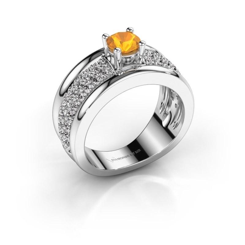 Ring Alicia 925 Silber Citrin 5 mm