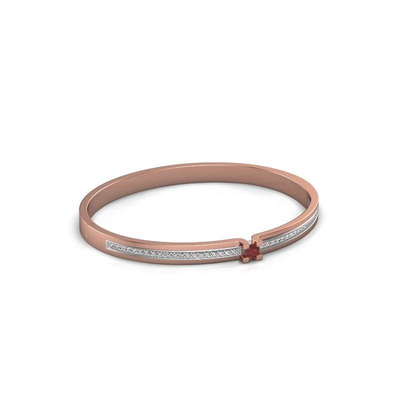 Armband Myrthe 585 rosé goud robijn 4 mm