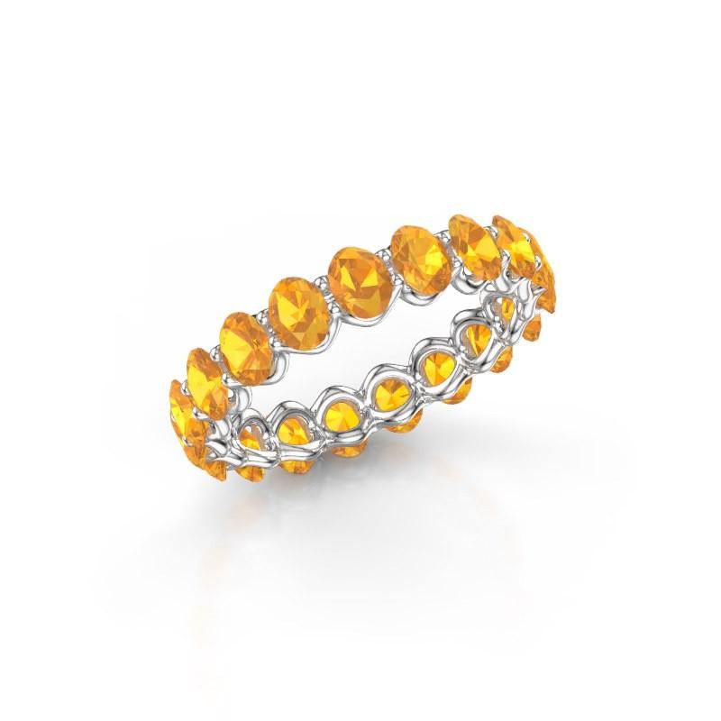 Ring Kirsten OVL 4x3 585 witgoud citrien 4x3 mm