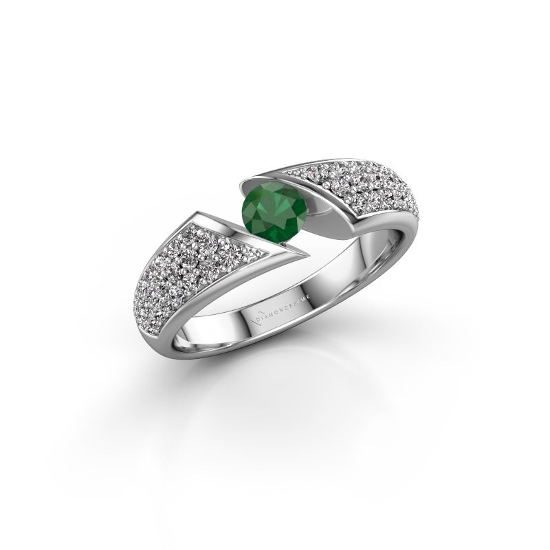 Engagement ring Hojalien 3 585 white gold emerald 4.2 mm