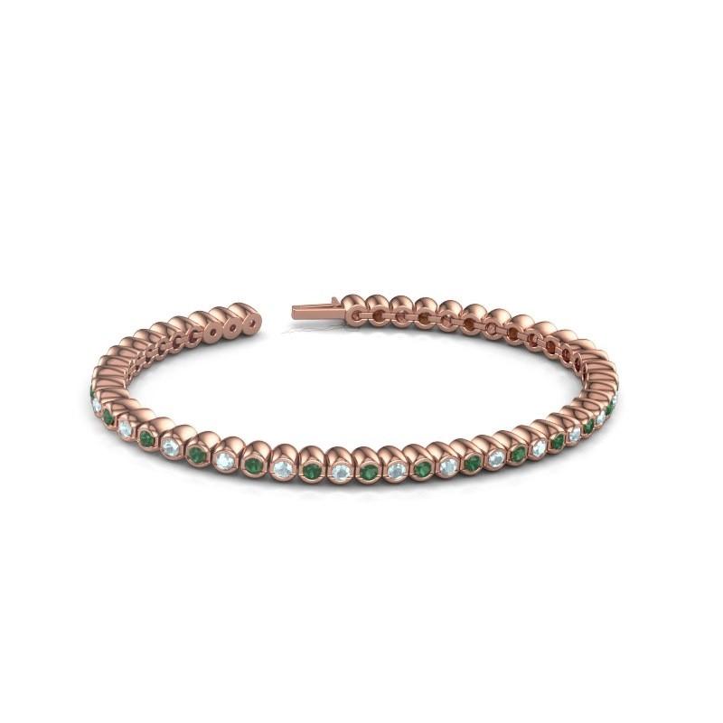 Tennisarmband Patrica 375 rosé goud smaragd 2.4 mm