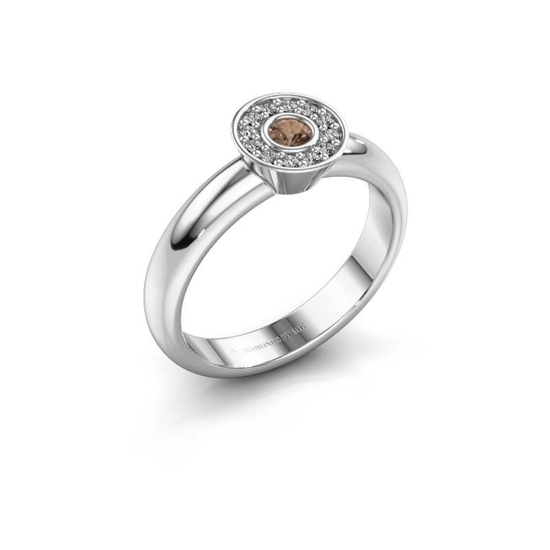 Bague Fiene 585 or blanc diamant brun 0.17 crt