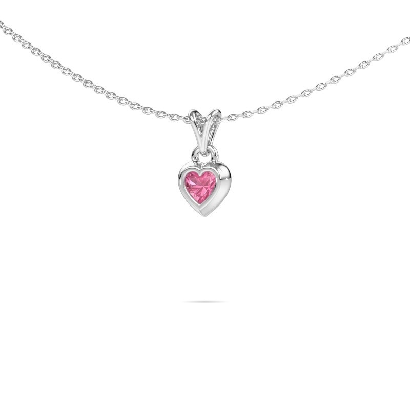 Hanger Charlotte Heart 925 zilver roze saffier 4 mm