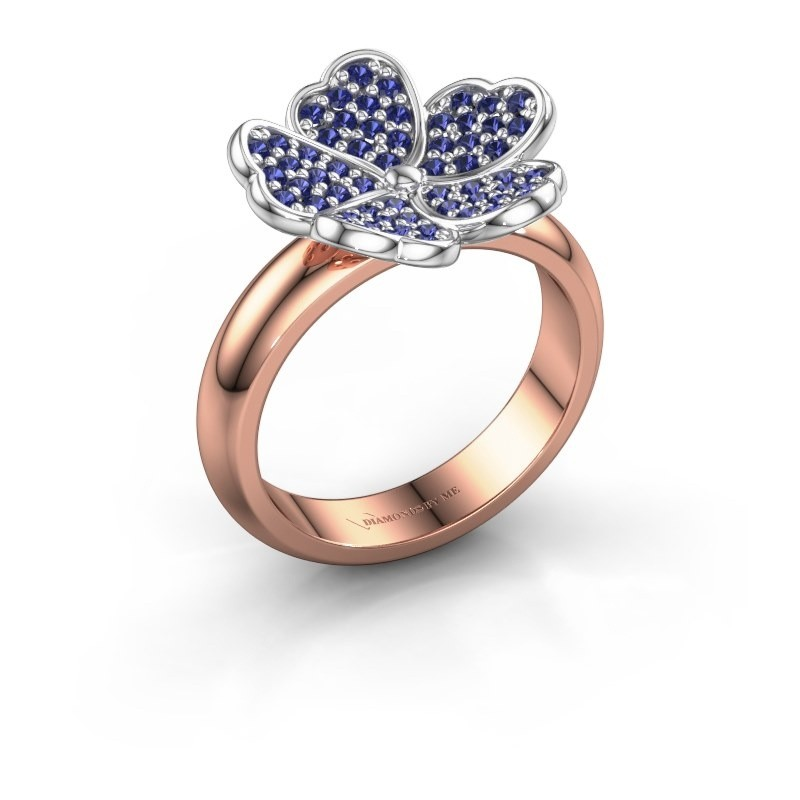 Ring Daphne 585 rosé goud saffier 1.2 mm