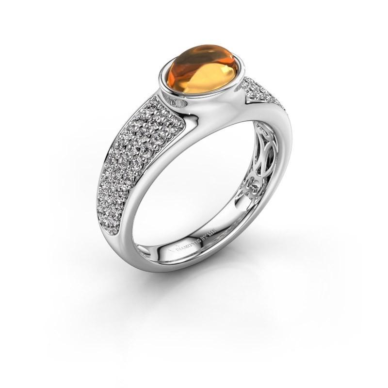 Ring Tatyana 375 witgoud citrien 7x5 mm