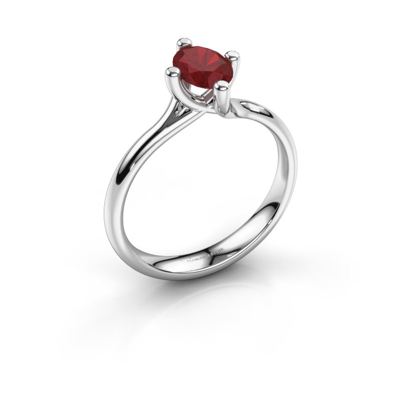 Engagement ring Dewi Oval 925 silver ruby 7x5 mm