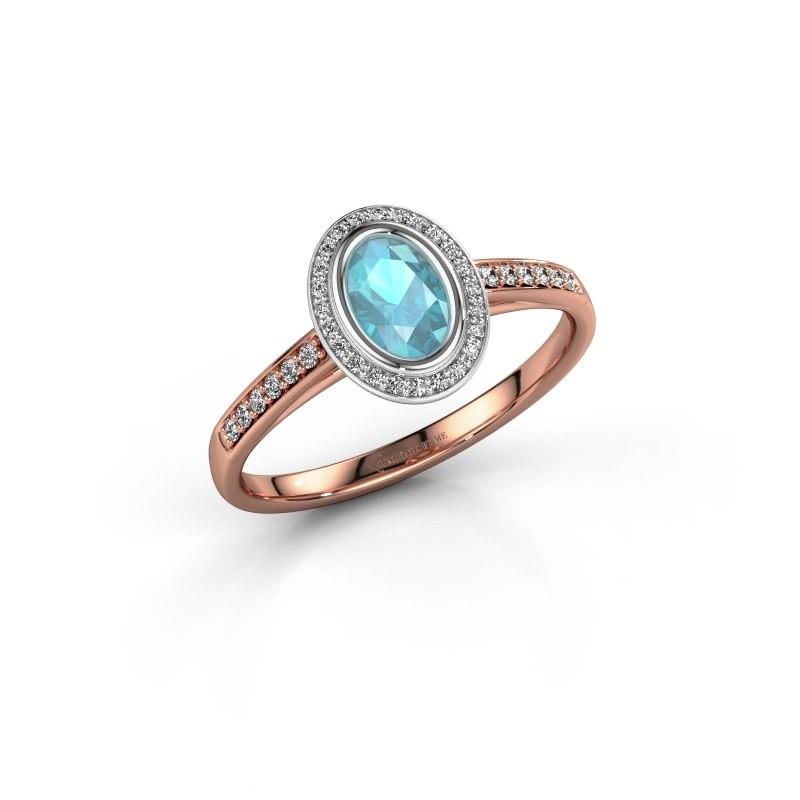 Engagement ring Noud 2 OVL 585 rose gold blue topaz 6x4 mm
