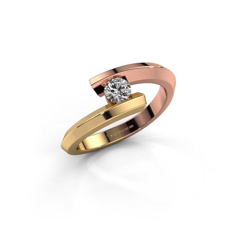 Ring Paulette 585 rose gold lab-grown diamond 0.15 crt