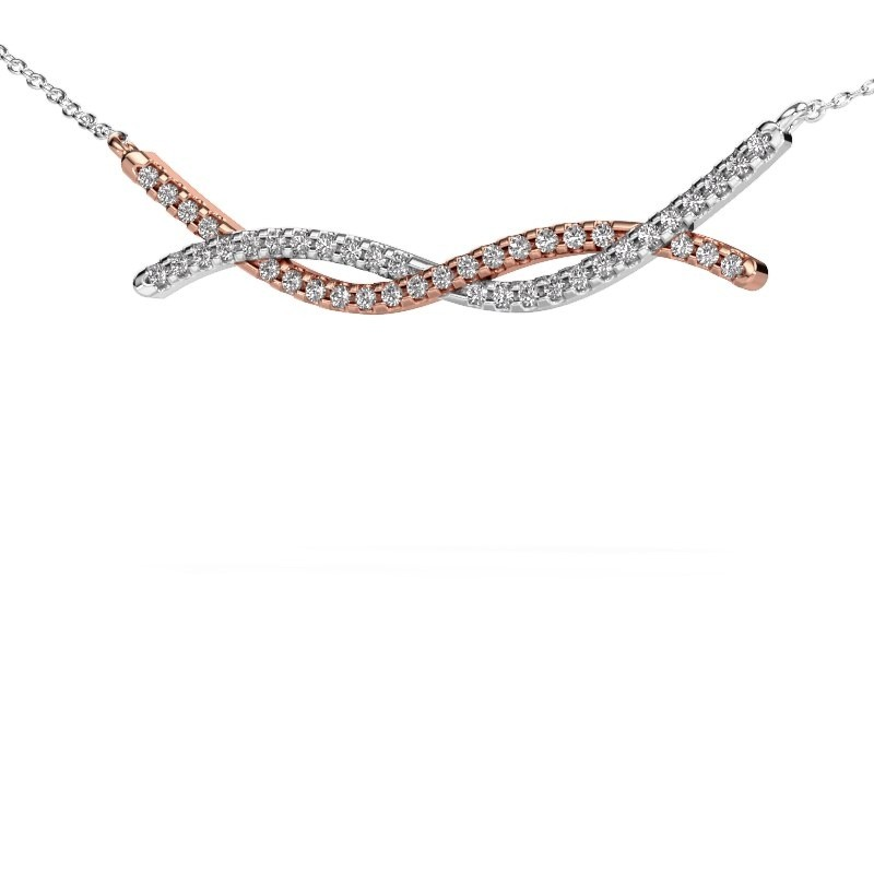 Collier barre Breanne 585 or rose diamant synthétique 0.338 crt