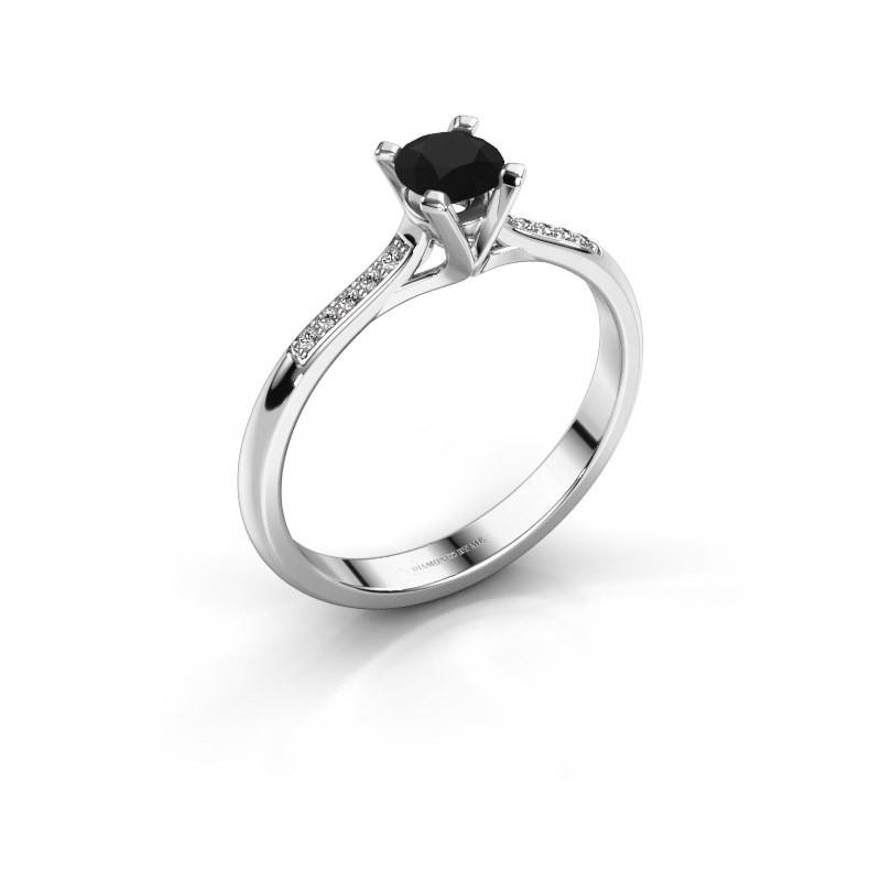 Aanzoeksring Isa 2 950 platina zwarte diamant 0.36 crt