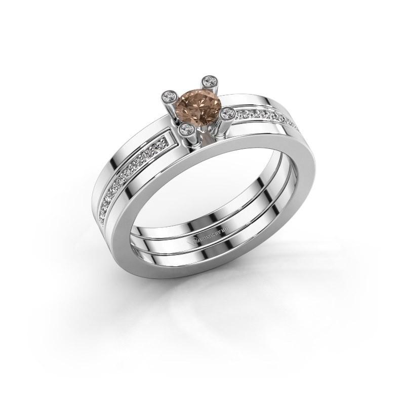 Ring Alisha 585 witgoud bruine diamant 0.36 crt