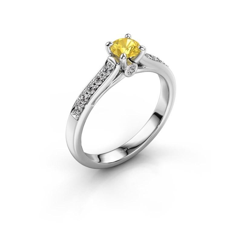 Verlovingsring Valorie 2 925 zilver gele saffier 4.7 mm