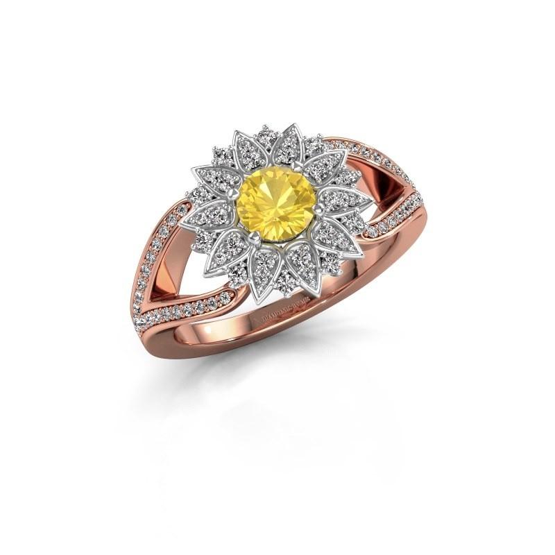Aanzoeksring Chasidy 2 585 rosé goud gele saffier 5 mm