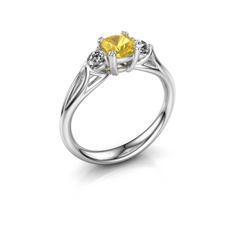Verlobungsring Amie cus 585 Weißgold Gelb Saphir 5 mm