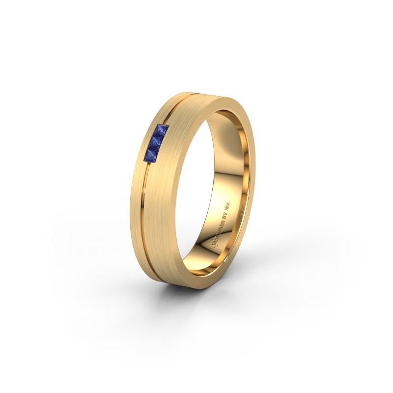 Wedding ring WH0158L14X 375 gold sapphire ±4,5x1.4 mm