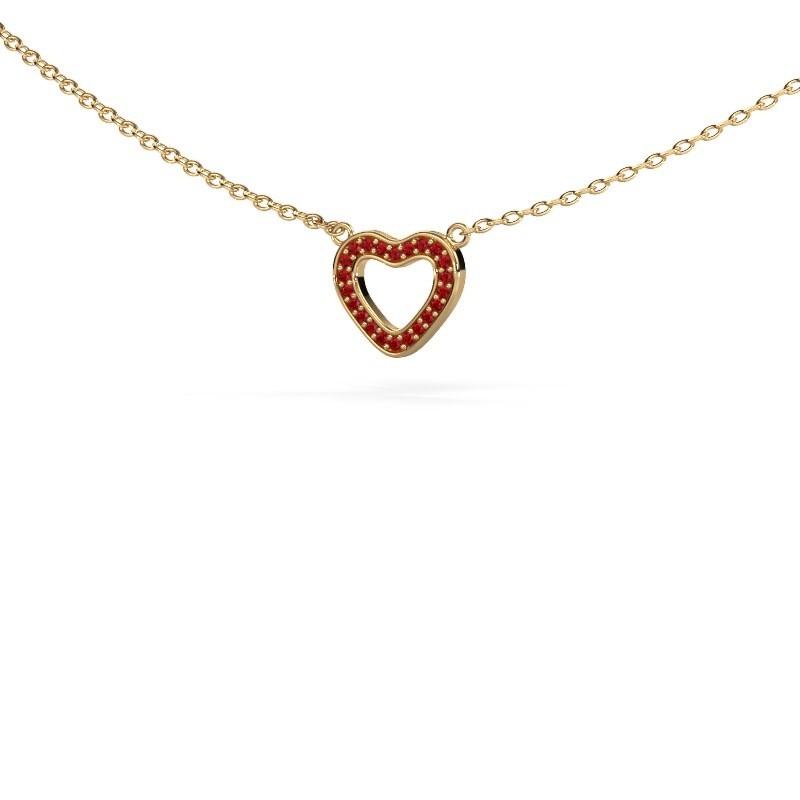Hanger Heart 4 375 goud robijn 0.8 mm