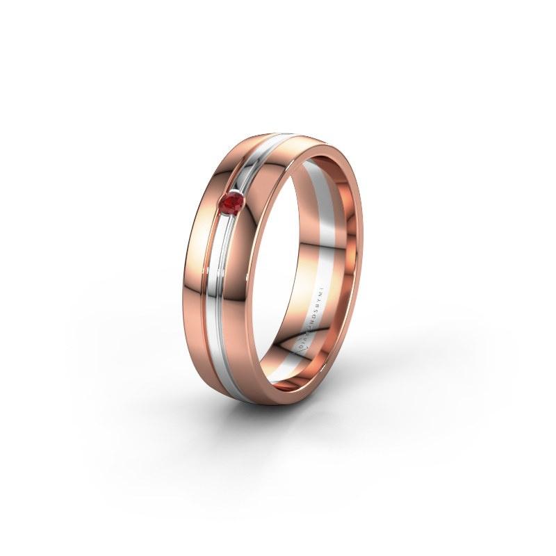 Trouwring WH0420L25X 585 rosé goud robijn ±5x1.5 mm