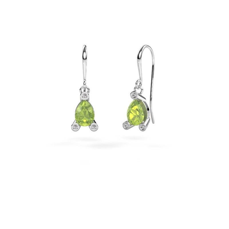 Drop earrings Bunny 1 950 platinum peridot 7x5 mm