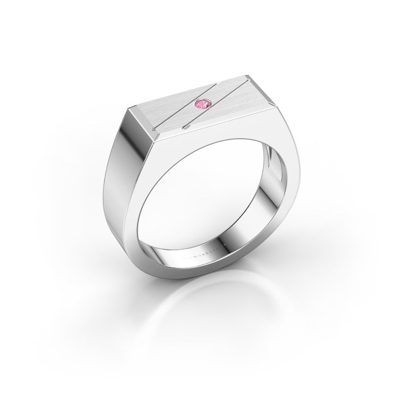 Men's ring Dree 3 585 white gold pink sapphire 2 mm