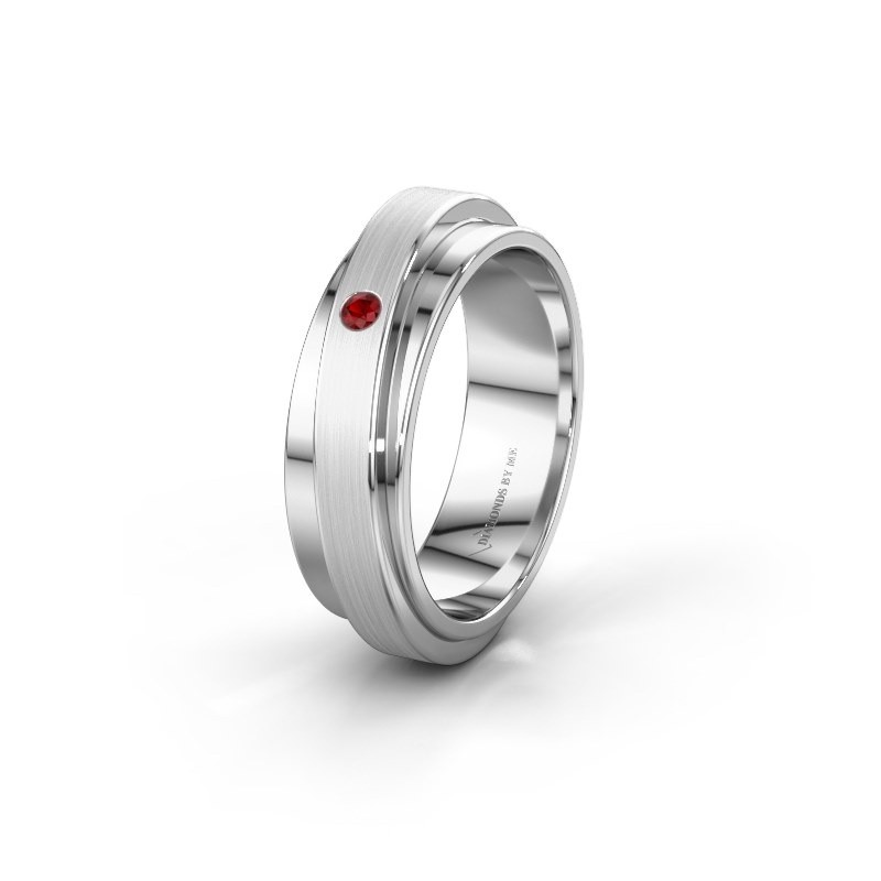 Weddings ring WH2220L16D 585 white gold ruby ±6x2.2 mm